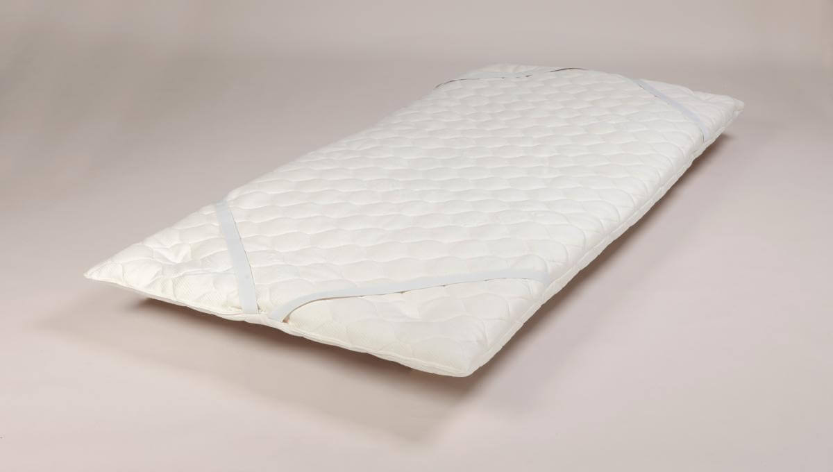 Wool Topper Pad (Single Size) showing mattress attachments