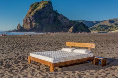 Seraphic 15 (Bamboo Blend Cover, King Size), and Classic Frame (Dark Rimu Finish) at Piha Beach, West Auckland